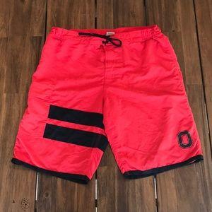 Men Ohio State Buckeyes Swim Shorts L Red Black